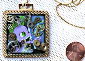 My Little Pony Spike Square Brass Necklace by elllenjean