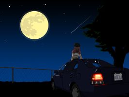 Maki on a Car, Under the Stars by OmegaDez