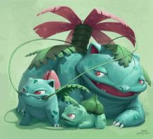 Smiling practise with Venusaur by mcgmark