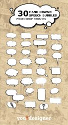 30 Hand Drawn Speech Bubble Photoshop Brushes by youthedesigner