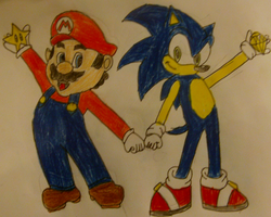Mario and Sonic by TheOneAndOnlyCactus