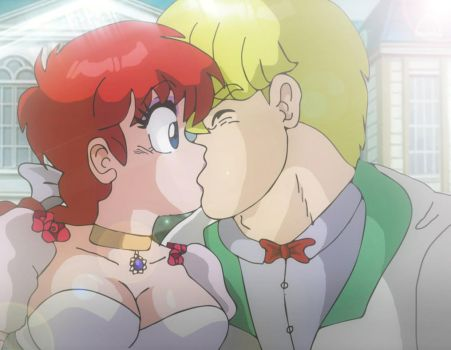 Ranma chan and Picolet Chardin kiss by Hainfinkle