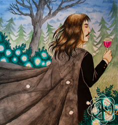 An Illusionist drink wine in the garden by Rauhan-Toveri