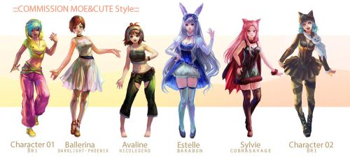 ::Fullbody Moe style::Character Commission set 10 by nanshu29