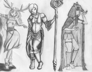 A Fairy, a Sorceress and a Hag by NaryaWelkin