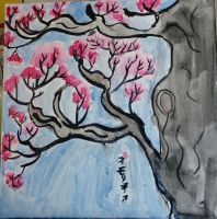 Watercolor Blossoms and Ink Tree by AkaiChounokoe
