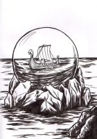 Crystal ball on sea by LallySvarion