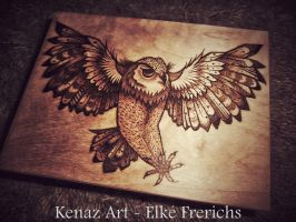 Owl Pyrography by KenazArt