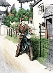 Late 1940's man on motorcycle. by Tripehound