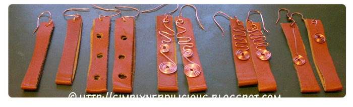 Leather and copper earrings by moonlitwhispers