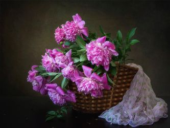 The basket with pink peonies by Daykiney
