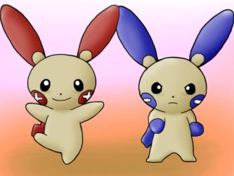 Plusle and Minun by Kenny21