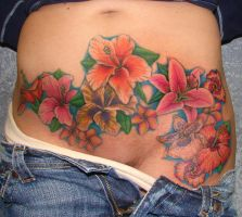 flowers on stomach by asussman