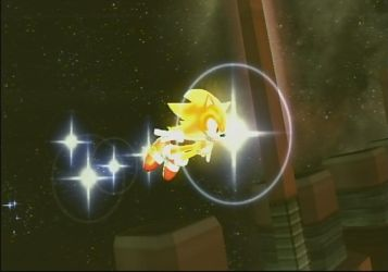 SSBB Screenshot: Super Sonic flying in space by quincyjazimar13