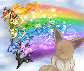 Rainbow Eeveelutions by madelezabeth