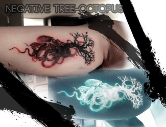 Negative octopus tattoo by SorahChan