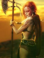 Red Haired Warrior Woman with Axe, Fantasy 3D-Art by shibashake
