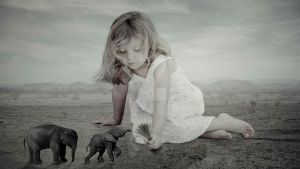 Baby Girl and Elephants by Denise-Rowlands