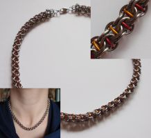 CIR chainmaille necklace red by MermaidsTreasury