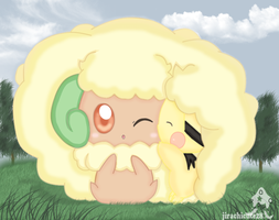 Whimsicott  and pichu