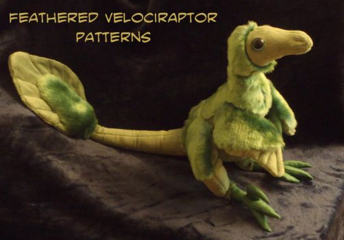 Feathered velociraptor-plushie PATTERNS by IsisMasshiro