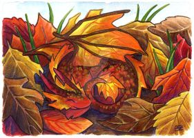 30 Days of Dragons - Day 18 - Autumn Leaf Dragon by SpaceTurtleStudios