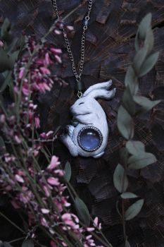 Magic White Hare with Blue Glass Cabochon Necklace by Lavenderwitch