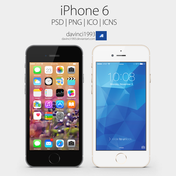Apple iPhone 6: PSD   PNG   ICO   ICNS by davinci1993