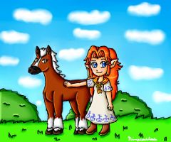 Young Malon and Epona by ninpeachlover