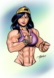 Blue Pencil Muscle Girl Colored by JINworks