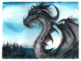 Another watercolour dragon by drakhenliche