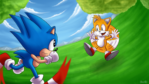 Sonic and Tails - Birthday gift for NataliCZ by Oggynka