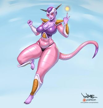 freeza girl fanart by pinkdrawz