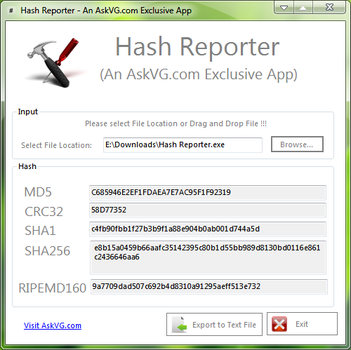 Hash Reporter for Windows by Vishal-Gupta