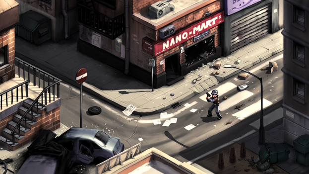 2D survival horror game mockup - city streets by Pyroxene