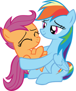 Scootalove (Rainbow Dash holding Scootaloo) by red4567-2