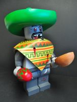 Up scaled Zombie mexican lego figure by MrNeon