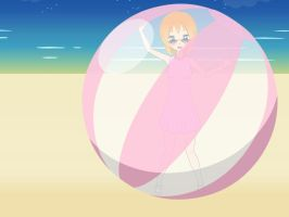 Summer time with beach ball by sunnyDg