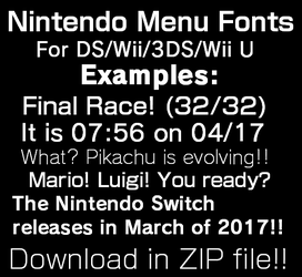 Nintendo Menu Fonts by TheWolfBunny
