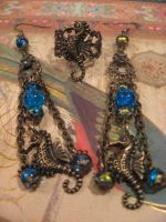 A drop in the ocean steampunk earrings and ring by assassin-kitty