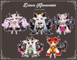 [CLOSED] Adoptable 111 - KIMONOMIMI AUCTION by Puripurr