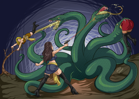 Star Trek Women vs. Space Hydra by upholder