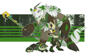 [p] druid goat digimon by glitchgoat