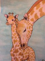 Giraffe and baby watercolor by atreyu917