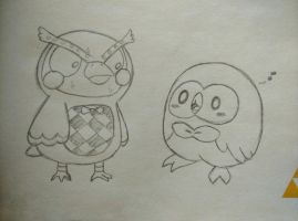 Blathers meets Rowlet by Seraphinae
