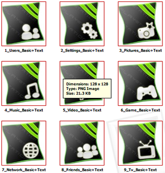 PS3HomeRow IconPack Green text by EffECKTz