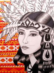 Aztec Woman Painting by ChelseaFerranti