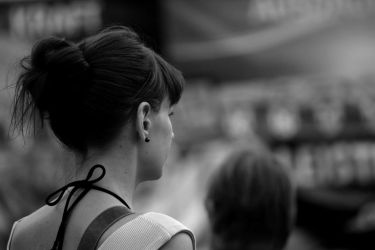 Lady with bun in Black and White by LoveForDetails