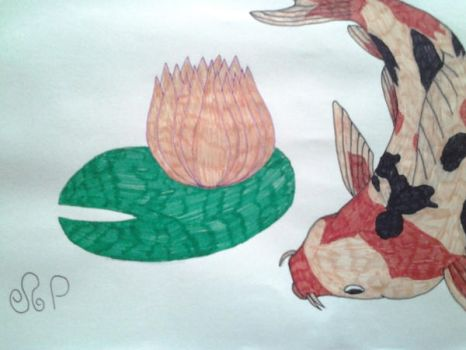 Koi fish and a pond lily.  by DragonMaster003