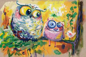 Owl and pig by bemain